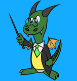 Dragon tutor. Cartoon character with pointer Stock Image