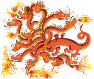 Dragon with twelve heads. Red dragon with twelve heads, on a white background. Vector illustration Stock Photos