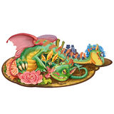 Dragon with two heads who loves flowers. Cartoon dragon with two heads who loves flowers. Raster illustration Royalty Free Stock Photography