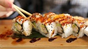 Dragon Uramaki Sushi stock video footage