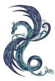 Dragon vector. Fantasy dragon illustration in shades of green and blue Stock Photography