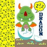 Dragon vector. Baby dragon sleep in the egg Stock Photos