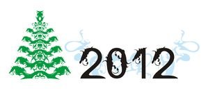 Dragon vector christmas tree and New Year 2012. 2012 - year of a black dragon and a New Year tree isolated on a white backgroun royalty free illustration
