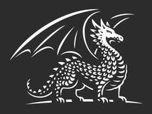 Dragon vector illustration, emblem on dark background Royalty Free Stock Photo