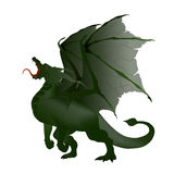 Dragon. Vector illustration marsh green dragon with torn wings Stock Image