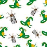 Dragon vector seamless pattern Royalty Free Stock Photos