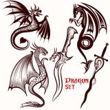 Dragon vector set for tattoo. Design Royalty Free Stock Photography