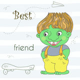 Dragon vert mignon de troll dans le style de bande dessinée Illustration comique témoin Photos stock