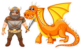 Dragon and viking Royalty Free Stock Images