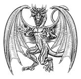 Dragon in Vintage Style. An illustration of a dragon fantasy monster in a hand drawn grunge woodcut style Stock Photo