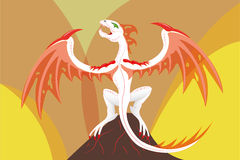 Dragon on a volcano Royalty Free Stock Photos