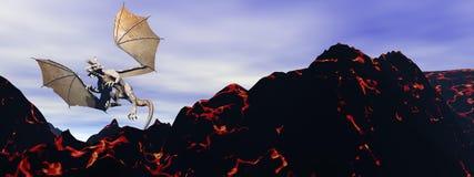 Dragon and volcano Stock Photo