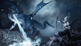 Dragon vs archer. Fantasy scene with archer shooting at the blue dragon Royalty Free Stock Image