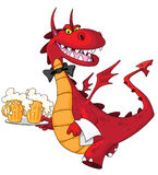 Dragon waiter with beer. Illustration of a dragon waiter with beer Royalty Free Stock Image