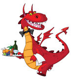 Dragon waiter with food tray. Illustration of a dragon waiter with food tray Stock Photo