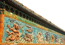 Dragon wall. In Beihai park of Beijing stock image