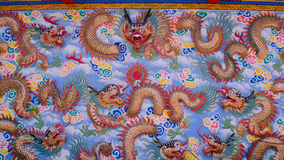 Dragon Wall. Architecture Dragon Wall Chainese in Thailand Stock Image