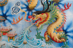Dragon Wall. Architecture Dragon Wall Chainese in Thailand Stock Photos