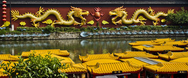Dragon Wall over River in Nanjing, China. Stock Photo