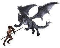 Dragon Warrior Boy Fighting un dragón libre illustration