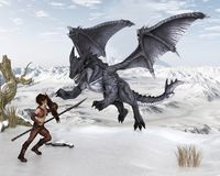 Dragon Warrior Boy Fighting un dragon dans la neige Photos libres de droits
