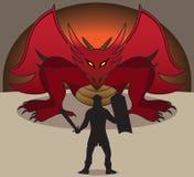 Dragon and Warrior Stock Image