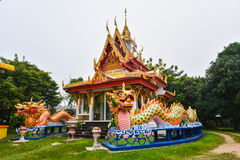 Dragon at Wat Buppharam Penang, Malaysia. Wat Buppharam is a Thai Buddhist temple located at Perak Road, Penang. The name Wat Buppharam means `flower temple` Royalty Free Stock Photo