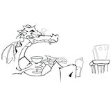 Dragon watching tv. Cartoon on white Royalty Free Stock Photography