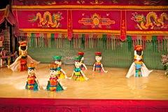 Dragon Water Puppets Theatre dourado em Saigon, Vietname Imagens de Stock Royalty Free