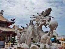 Dragon. White dragon at chinese temple Stock Photo