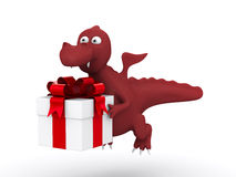 Dragon with white gift box. 3D image Stock Photos