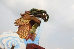 Dragon and white sky. Royalty Free Stock Photo