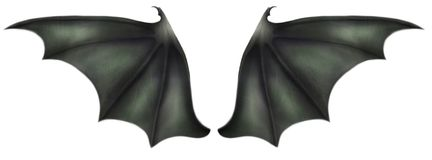 Dragon Wings. Digitally created green scaled dragon or demon wings Royalty Free Stock Photography