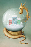 Dragon and Winter Globe 2 Stock Image