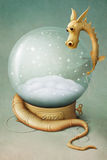 Dragon and Winter Globe. Greeting Card and New Year background, illustration, computer graphics Royalty Free Stock Photo