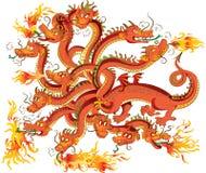 Dragon With Twelve Heads Stock Photos