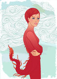 Dragon woman. Beautiful young woman dressed as a dragon, symbol of New Year 2012, vector illustration vector illustration