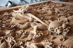 Dragon wood carve Royalty Free Stock Image