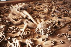 Dragon wood carve Royalty Free Stock Photo