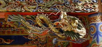Dragon Wood Carving. Of Temple Stock Photos