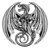 Dragon Woodcut voado Fotografia de Stock Royalty Free