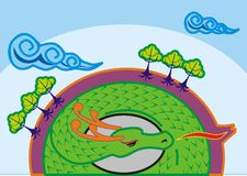 The Dragon World. The dragon sleep in the inside of the earth with her egg. Illustration that be used in drawing book Royalty Free Stock Photography