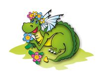 Dragon in a wreath of flowers Stock Photo
