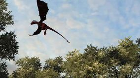 Dragon wywern is flying. Over trees in front on a blue sky royalty free illustration