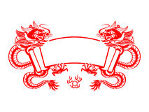 Dragon Year scroll. Chinese New Year red mighty dragons scroll isolated Stock Images