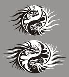 Dragon the yin yang, symbol of harmony and balance. Dragons in the shape of the yin yang, symbol of harmony and balance Stock Images
