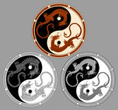 Dragon the yin yang. Dragons in the shape of the yin yang, symbol of harmony and balance Royalty Free Stock Photography