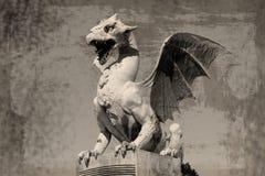 Dragon (Zmajski most), symbol of Ljubljana, Slovenia Stock Images