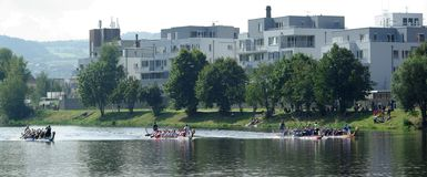 Dragonboats in Beroun 4 Stock Afbeelding