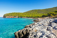 Dragonera beach in Agistri, Greece Royalty Free Stock Photography